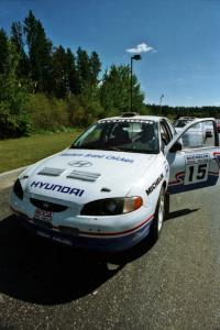 John Buffum / Doug Shepherd Hyundai Elantra  prepares to leave parc expose for day two's stages.
