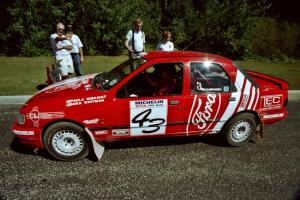 Mike Whitman / Paula Gibeault Ford Sierra Cosworth  prepares to leave parc expose for day two's stages.