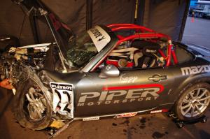 Kevin Kopp's Mazda MX-5 impacted the barrier at turn 12 after losing its brakes