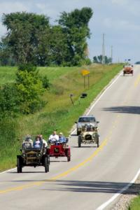 Bob Long's 1908 Maxwell, Mike Unrein's 1909 REO and Dick Pellow's 1908 Overland