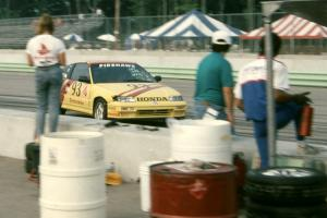 Todd Freeman / Jon Klapperick Honda CRX Si comes in for the driver's change