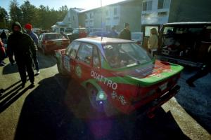 Carlos Arrieta, Sr. / Dick Casey Audi 4000 Quattro prepares for tech inspection in front of the A-Win Sands Motel.