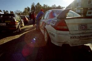 Tom Ottey / Pam McGarvey Mazda 323GTX and Garen Shrader / Doc Schrader Mitsubishi Lancer Evo IV await tech.