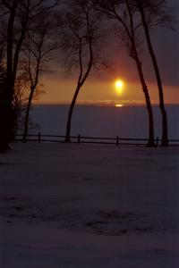A beautiful winter sunset over Lake Michigan in the U.P.