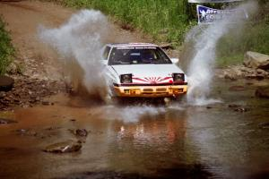 Mark Bowers / Duffy Bowers Mitsubishi Starion at the finish of SS1, Stony Crossing.