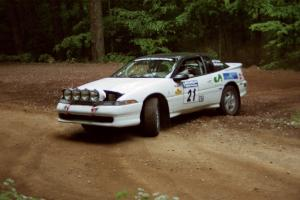 Chris Czyzio / Eric Carlson Mitsubishi Eclipse GSX at a hairpin on SS5, Thompson Point I.