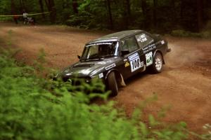 Jerry Sweet / Stuart Spark SAAB 99EMS powers out of a hairpin on SS5, Thompson Point I.