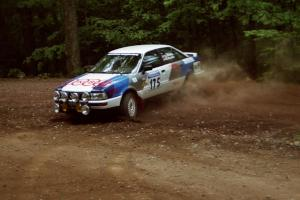 Alex Erisoty / Ben Greisler Audi 90 Quattro slides into a hairpin on SS5, Thompson Point I.