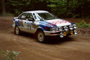 Alex Erisoty / Ben Greisler Audi 90 Quattro powers out of a hairpin on SS5, Thompson Point I.
