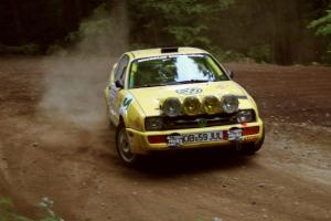 Vinnie Frontinan / Peter Watt VW Corrado powers out of a hairpin on SS5, Thompson Point I.