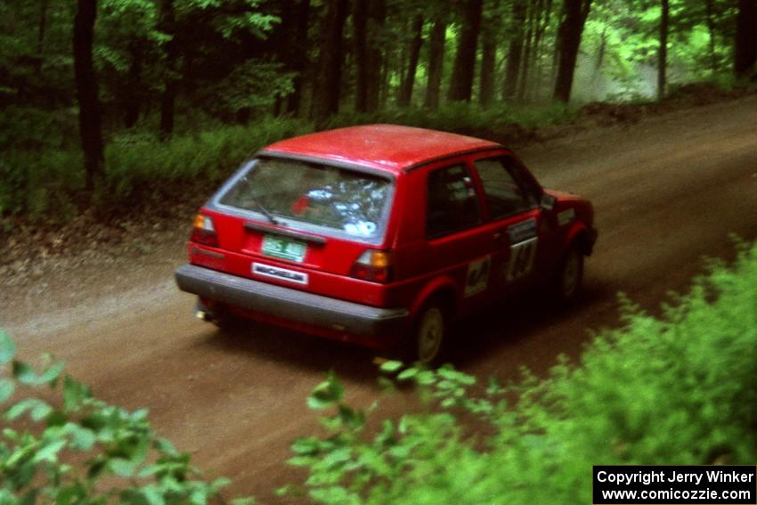 John Rahill / Vlad Hladky VW Golf powers out of a hairpin on SS5, Thompson Point I.