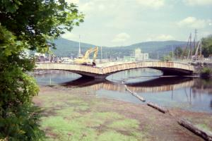 A new bridge being built across the river in Rumford, ME.