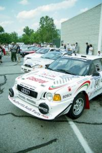 Frank Sprongl / Dan Sprongl Audi S2 Quattro and Noel Lawler / Charles Bradley Hyundai Tiburon behind it before the rally.