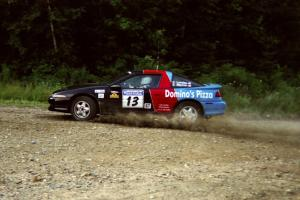 Cal Landau / Eric Marcus Mitsubishi Eclipse GSX power out of a hairpin on SS3, Grafton I.