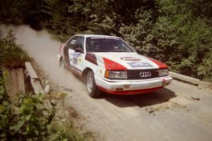 James Frandsen / Todd Bourdette Audi 200 at speed over a bridge on SS5, Magalloway North.