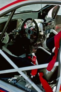 Shot of cage design and interior of the Ford Focus WRC.