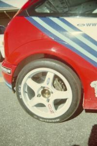 Tarmac tires on the Ford Focus WRC.