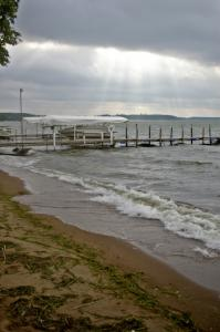 Skies were mostly cloudy with blustery winds on Lake Bemidji the morning before the event.