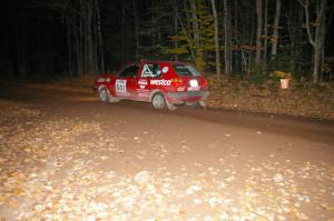 Daryn Chernick / Heidi Nunnemacher at speed near the flying finish of SS5 in their VW GTI.
