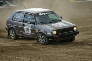 Chris Duplessis / Catherine Woods take a hard right-hand hairpin on SS1 in their VW GTI.