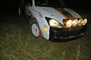 Dillon Van Way / Josh Knott drive their Ford Focus downhill this time at the spectator hairpin on SS7.