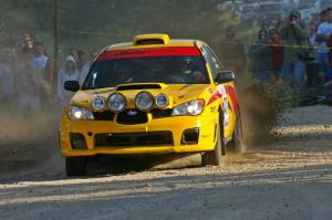Don Conley / Chris Herlache power their Subaru WRX Wagon out of the spectator corner on SS12.