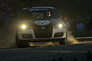 The VW GTI-Rally of Brian Dondlinger / Dave Parps comes onto the county road at the SS12 spectator point.