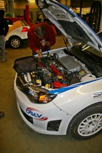 Tim Rooney / Travis Hanson Subaru WRX Sti goes through tech inspection. (1)