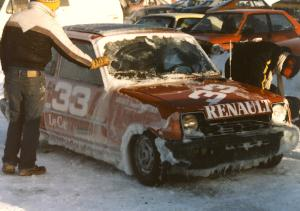 John Dozier's Renault LeCar was heavily coated in thick ice.