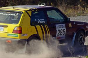 Sean Murphy / Ken Tsang in their VW GTI on SS1 (Green Acres I)
