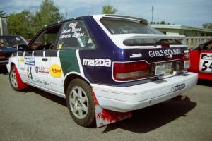 Gail Truess / Pattie Hughes Mazda 323GTX prior to the start.