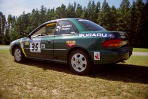 Lee Shadbolt / Claire Chizma Subaru Impreza prior to the start.