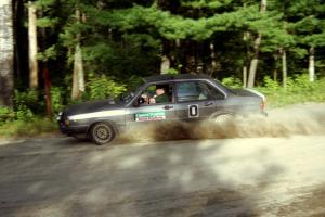 Brad Odegard's Audi 4000 Quattro ran '0' car, shown here at a 90-right on SS1, Akeley Cutoff.