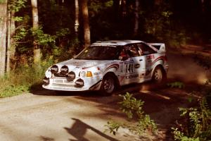 Frank Sprongl / Dan Sprongl Audi S2 Quattro at a 90-right on SS1, Akeley Cutoff.