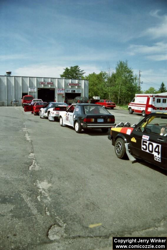 Cars in the tech line at the local car wash prior to the start.