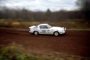 Ted Grzelak / Chris Plante Mazda RX-7 on the practice stage.