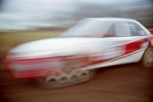 Henry Joy IV / Chris Griffin Mitsubishi Lancer Evo II at speed on the practice stage.