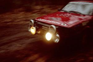 Jon Kemp / Rod Hendricksen Audi 4000 Quattro at speed on SS2, Bob Lake I.