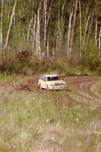The Todd Jarvey / Rich Faber Mitsubishi Galant VR-4 at speed in the Two Inlets State Forest.