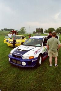 Karl Scheible / Russ Hughes Mitsubishi Lancer Evo V and Padraig Purcell / Patrick McGrath Vauxhall Astra GSI in the tech line.