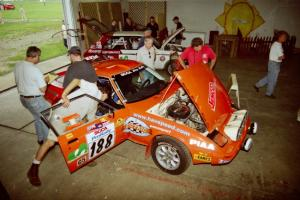 Andrew Havas / Scott Slingerland Mazda RX-7 goes through tech inspection.