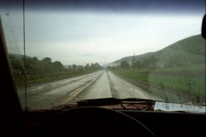 Following the Bob Nielsen / Rob Bohn VW GTI down the road in a heavy downpour after tech.