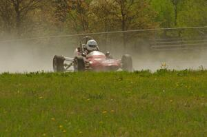 Jeff Ingebrigtson's Caldwell D9 Formula Ford gets into the oil dry at turn 4.