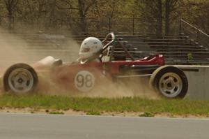 Jeff Ingebrigtson's Caldwell D9 Formula Ford spins in oil dry between turns 4 and 5.