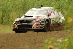 Travis Pastrana / Chrissie Beavis Subaru WRX STi on SS3, Indian Creek.