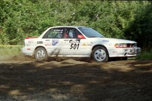 Todd Jarvey / Rich Faber Mitsubishi Galant VR-4 at the spectator corner on SS10, Kabekona.