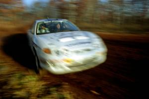 Paul Choiniere / Jeff Becker Hyundai Tiburon at speed on the practice stage.