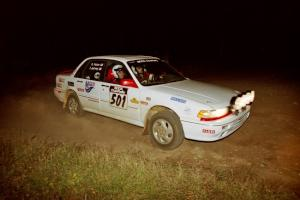 Todd Jarvey / Rich Faber Mitsubishi Galant VR-4 at the spectator corner on SS4, Far Point I.
