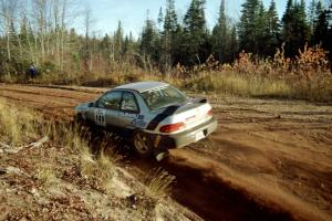 Jonathan Ryther / Janice Damitio Subaru Impreza 2.5RS at speed near the end of SS17, Gratiot Lake II.
