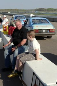 Tim Winker with his nephew on the pit wall.
